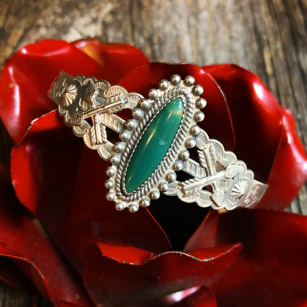 Vintage Arrow & Turquoise Cuff