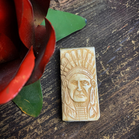 Hand Carved Chief Money Clip