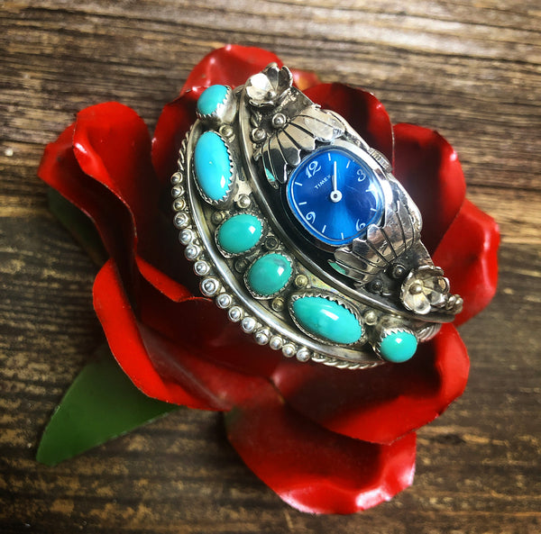 Vintage Turquoise & Cactus Flower Watch Cuff