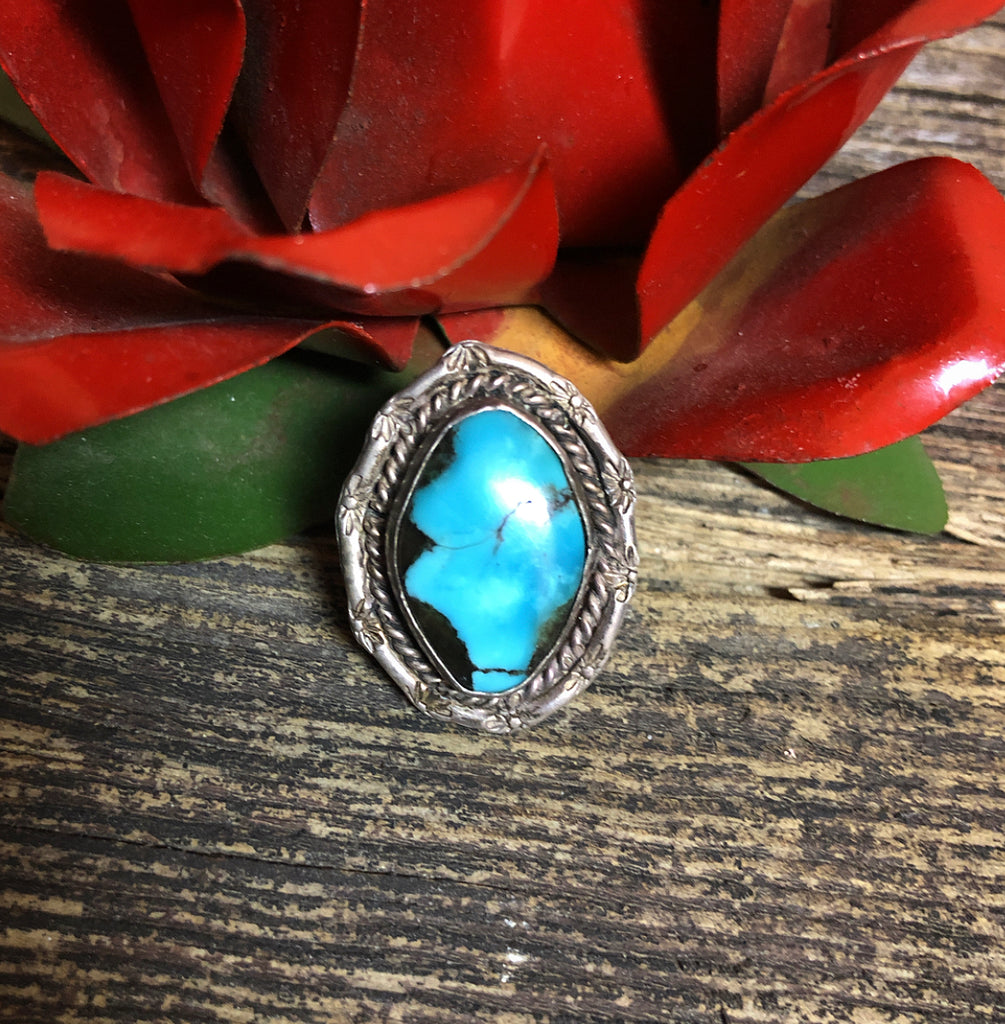 Vintage Stamped Turquoise Ring