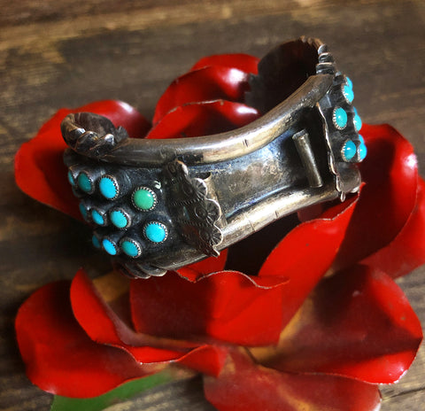 Vintage Zuni Snake Eye Watch Cuff