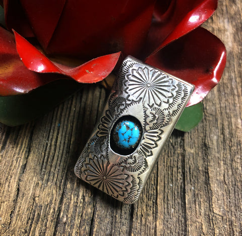 Hand Stamped Turquoise Money Clip