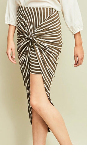 Olive Stripped Skirt
