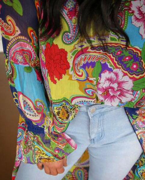 Tulsa High-Low Floral Blouse