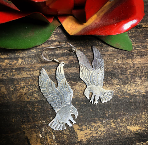Vintage Sterling Silver Eagle Earrings