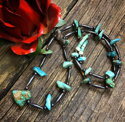 "31 1/2"" Vintage Turquoise Nugget Necklace"