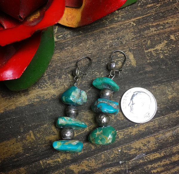 Vintage Turquoise Nugget & Bench Bead Earrings