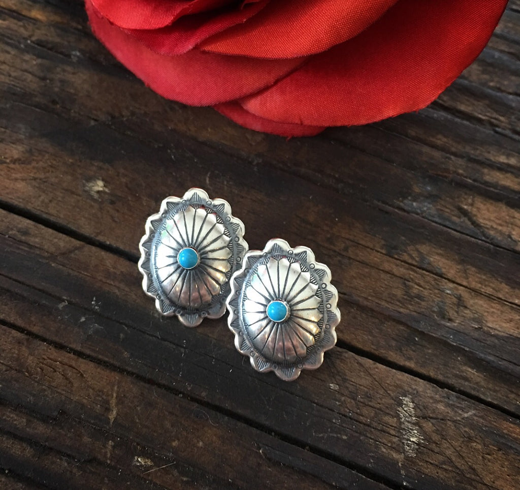 Large Oval Concho Posts w/ Turquoise