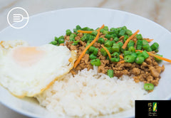 Long Bean with Minced Chicken, Egg and White Rice