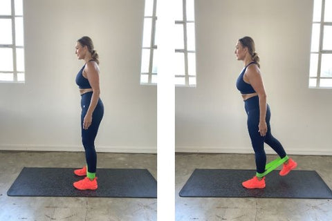 Standing glute kickback exercise with resistance band