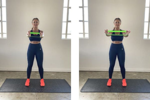 Tricep exercise with resistance band