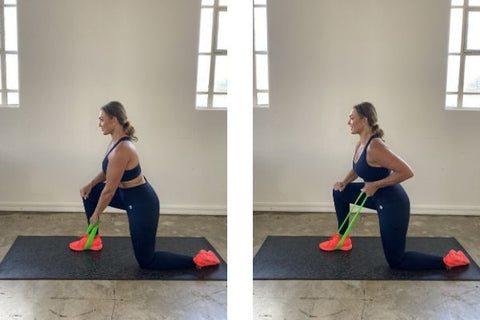 Back row exercise with resistance band