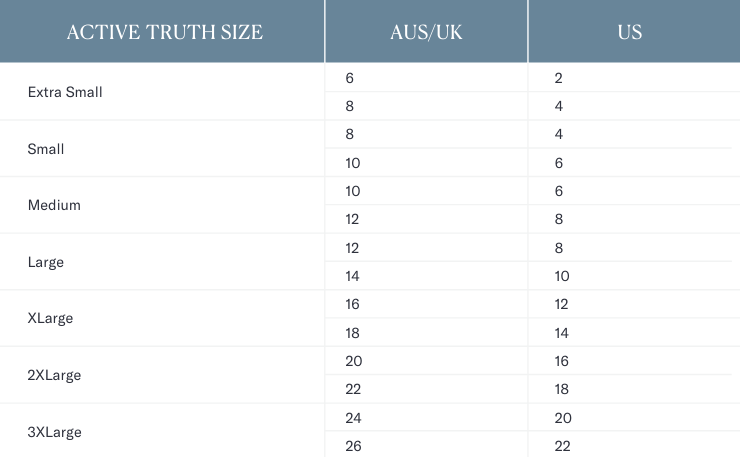 Active Truth Size Conversions