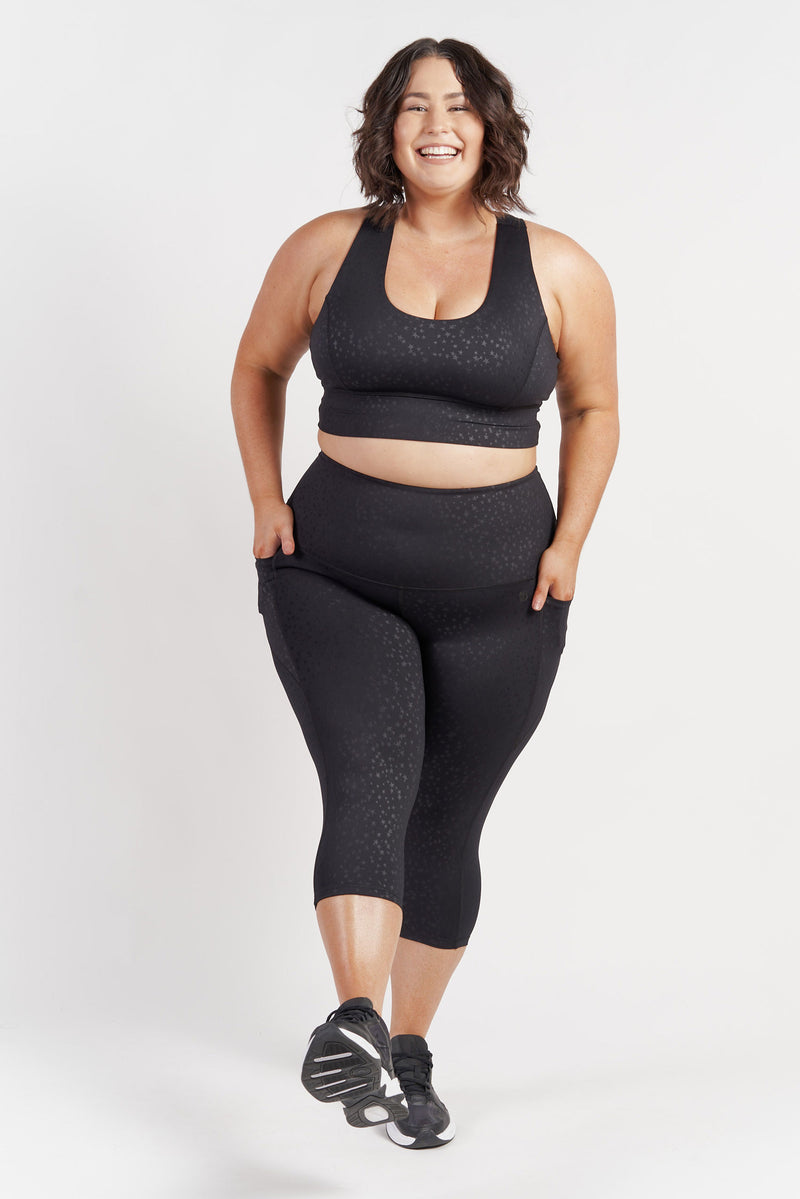 3-4-length-gym-tight-black-star-plussize-front3