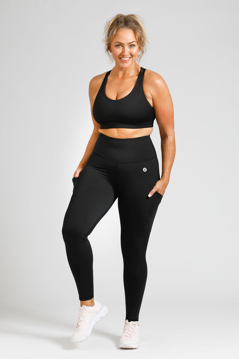 Full length compression tights front