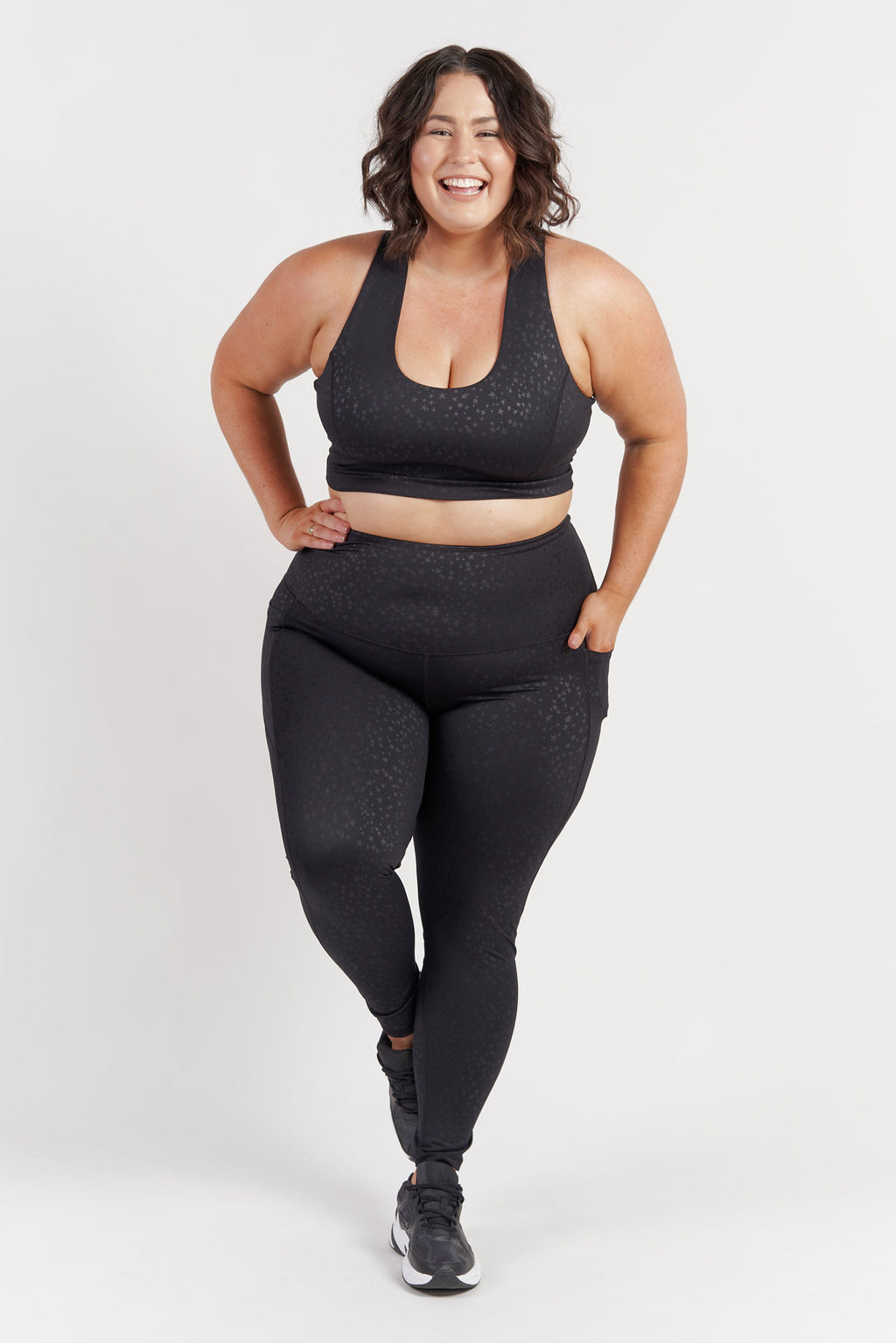 full-length-gym-tight-black-star-plussize-front