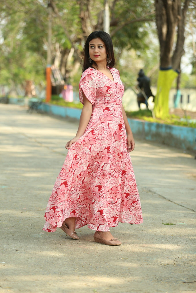 Cotton Pink flare dress