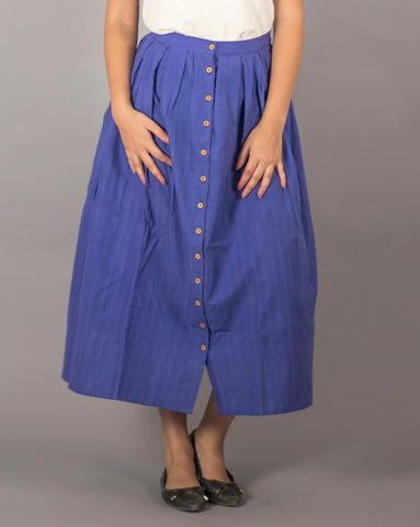Blue cotton button down skirt