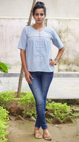 Grey gathered loose fit shirt