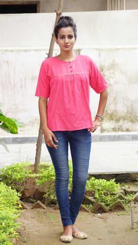 Pink gathered loose fit top