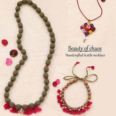 Handcrafted up-cycled textile necklace