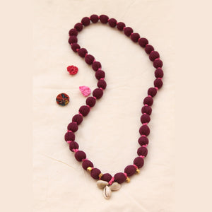 Maroon long necklace