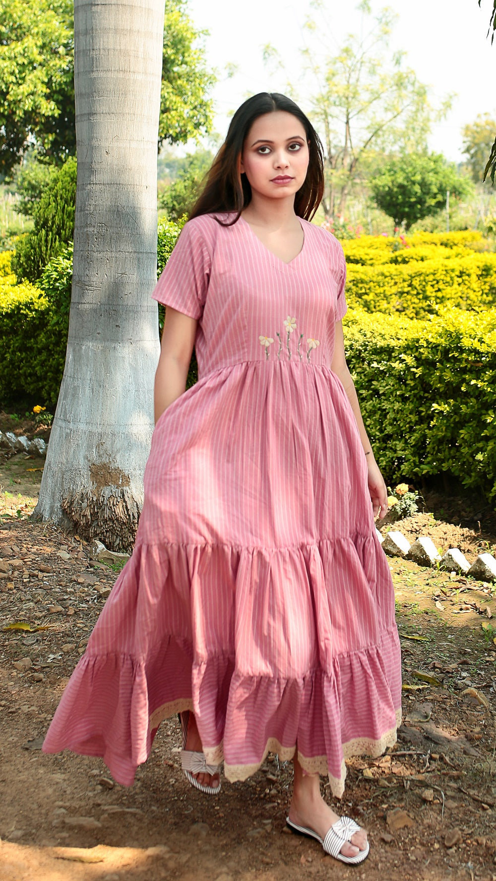 Tier Tier Striped Masakali Dress online at bebaakstudio.com