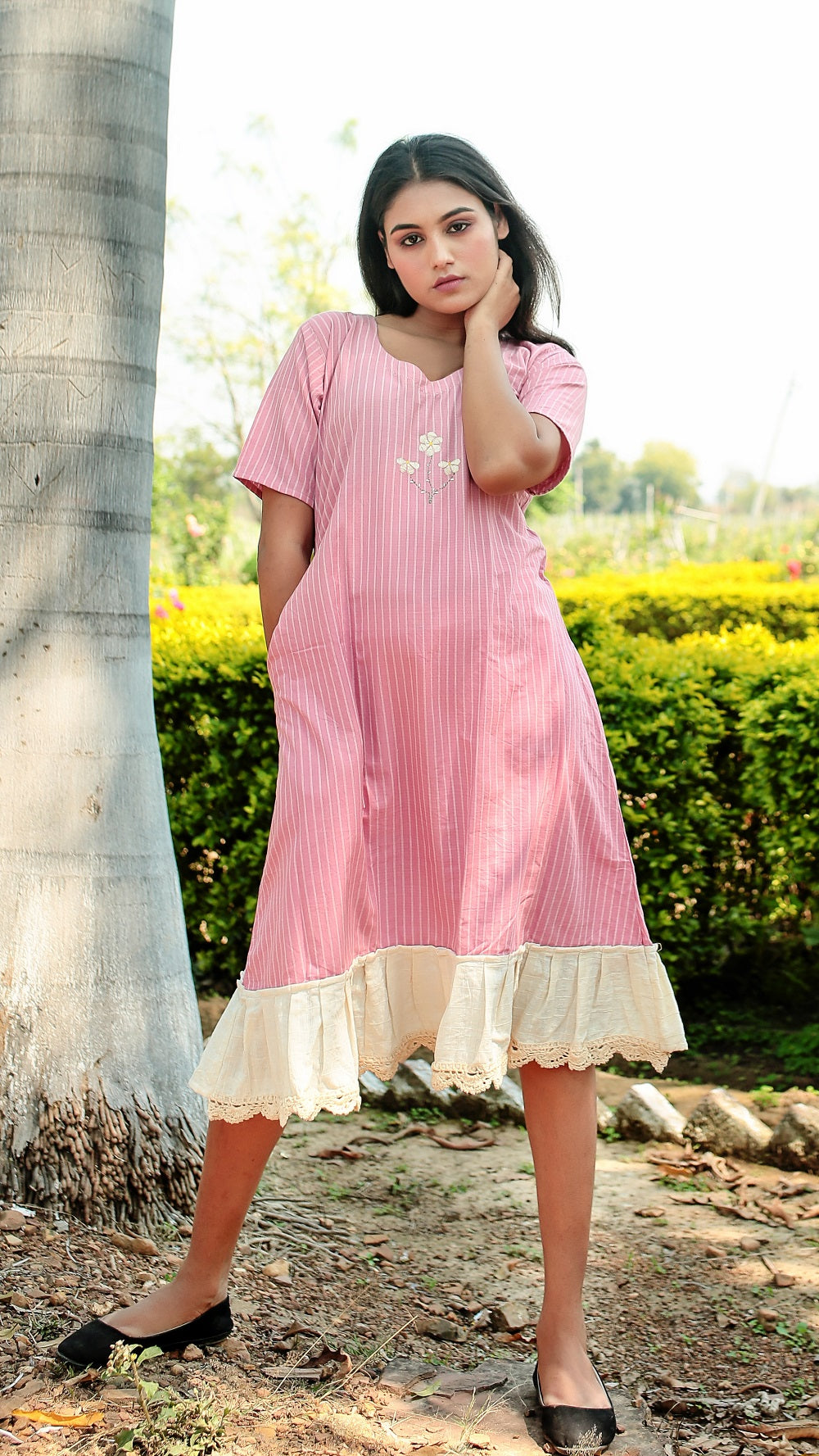 A line Striped Masakali Dress online at bebaakstudio.com