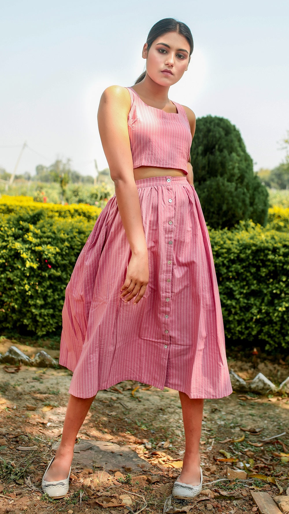 Pink striped masakali skirt set