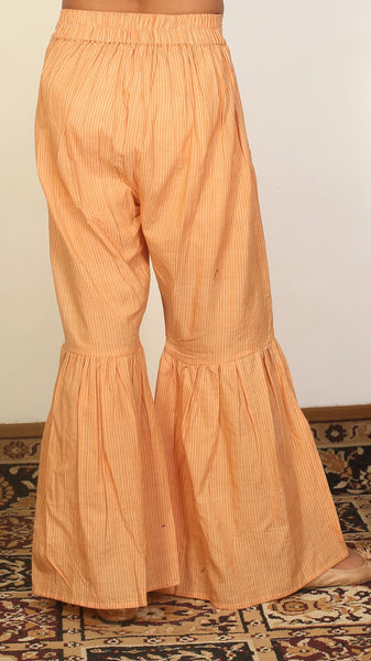 Honey color handwoven sharara