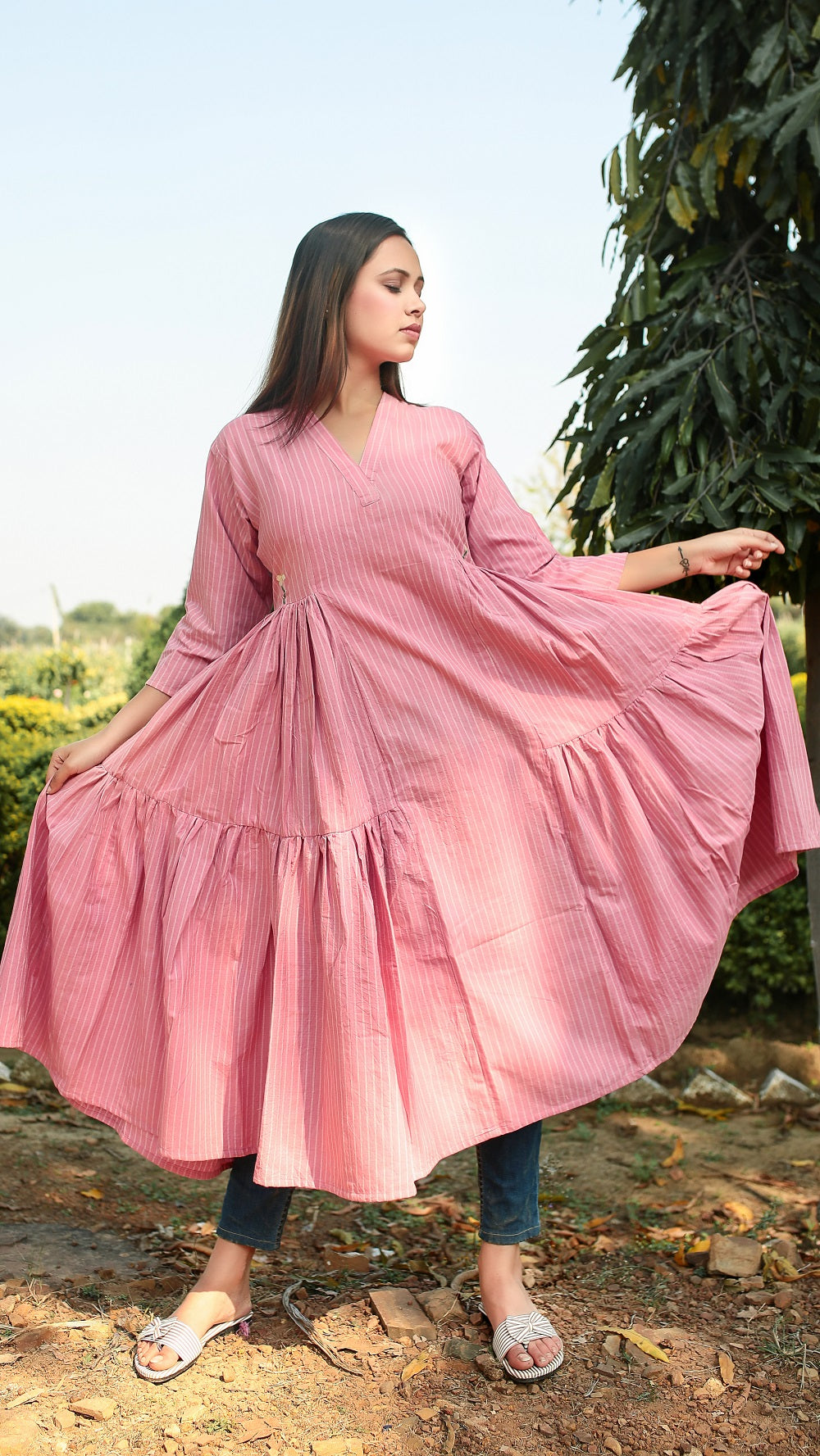 Pink flared masakali tunic online at bebaakstudio.com