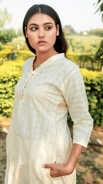 V neck round hem masakali tunic set