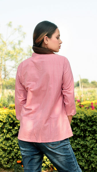 Pink Striped side button Shirt online at bebaakstudio.com