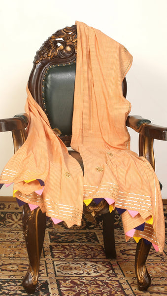 Honey woven dupatta with golden lace