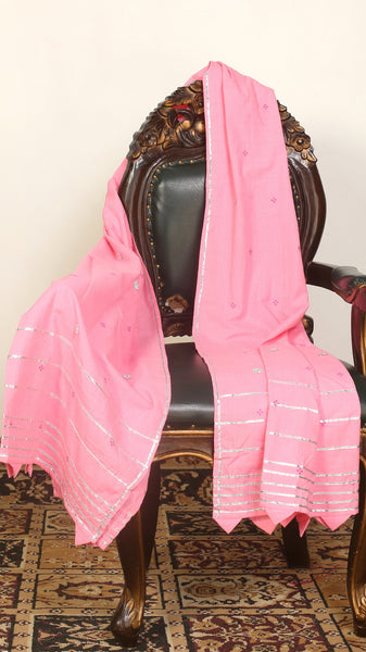 Pink Woven Dupatta With Zari Work