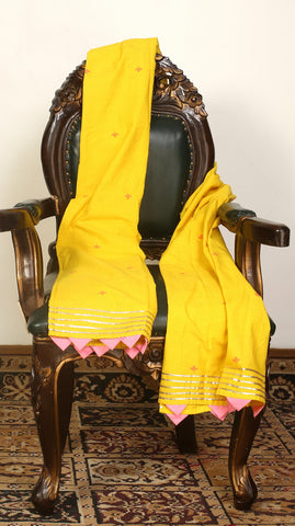 Yellow Woven Dupatta With Floral Motif
