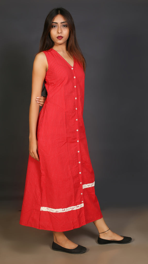 Red A Line Long Dress