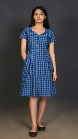Blue Check Button Down Short Dress