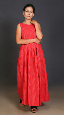 Red Striped Boat Neck Long Dress