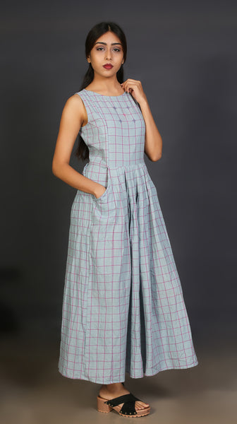 Grey Check Boat Neck Long Dress