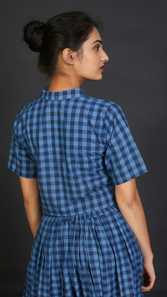 Blue mandarin collar crop top online available at bebaakstudio.com