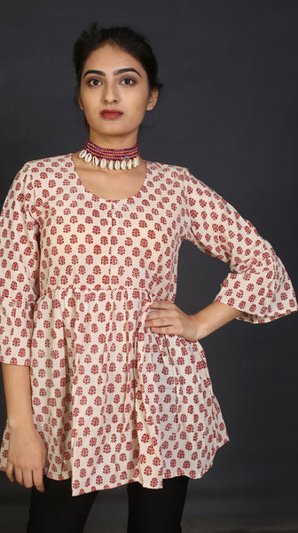 Ivory gathered bhagh printed boho top