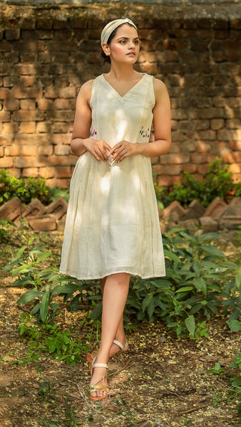 Kora side gathered sleeveless dress