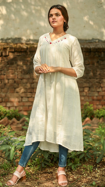 Kora V neck embroidered tunic
