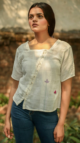 Kora embroidered button top