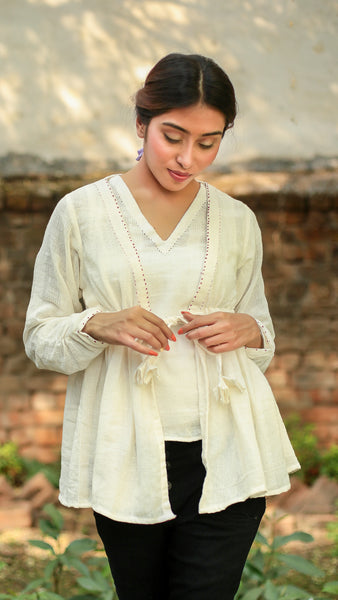Kora gathered drawstring top