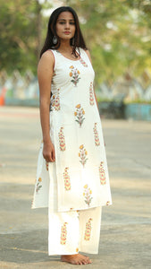 Mughal block print sleeveless kurta set