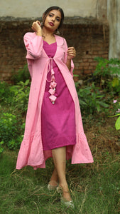 Pink buta layer dress