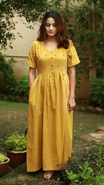 Earthy yellow embroidered long dress