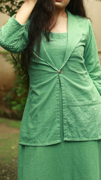 Ocean green flounce dress with jacket